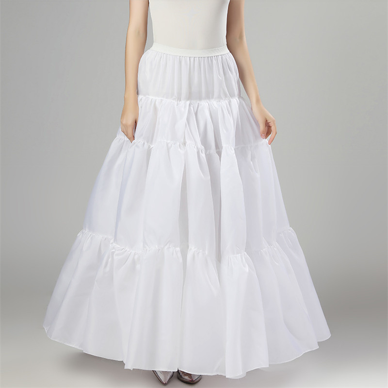 Women's Long Cloth Grain Skirt Ruffle Vintage Wedding Bridal Petticoat For Wedding Dresses Underskirt Rockabilly Tutu
