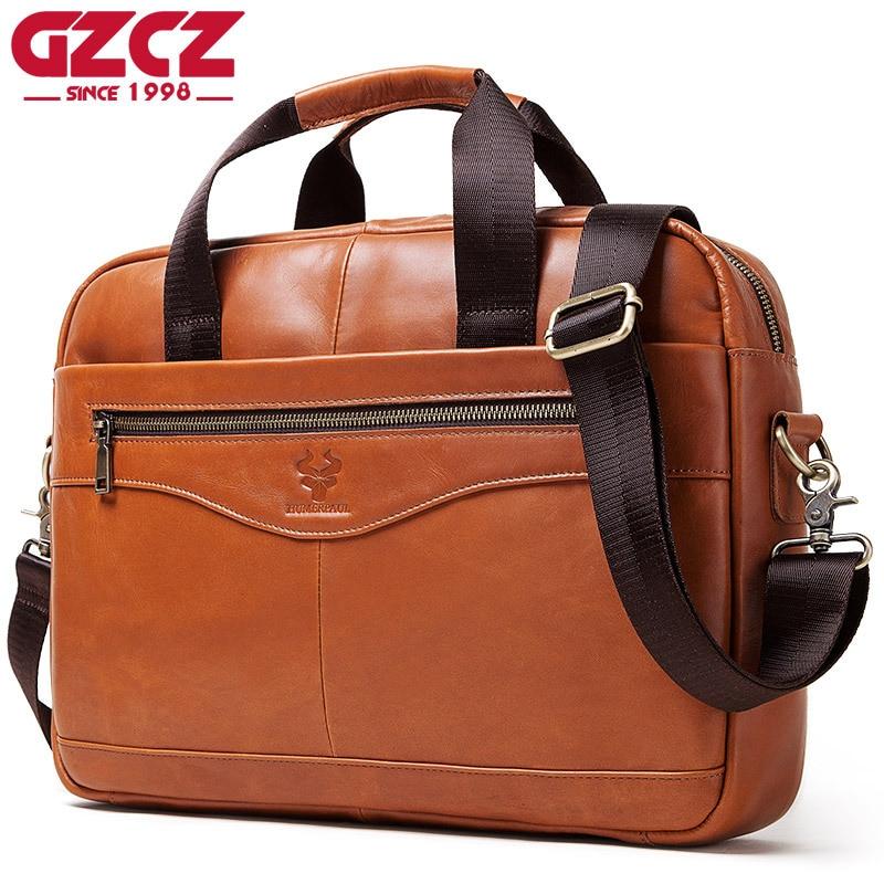 Men Briefcases Lawyer Genuine Leather Handbag Vintage Laptop Briefcase Male Shoulder Bags multifunction Men's Bag Documents