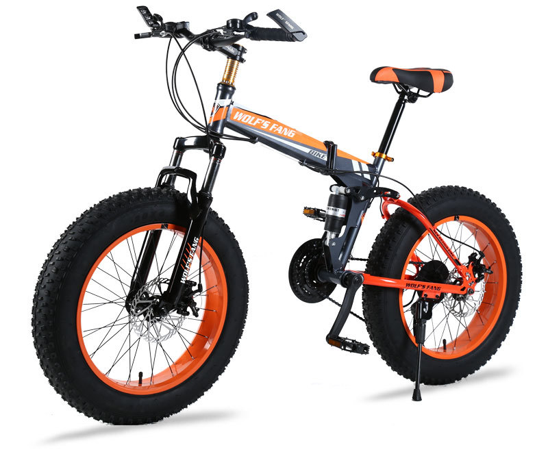 "Ha6e57d300c5b423c9587efc4abfb66855 wolf's fang Mountain Bike 20""x 4.0 Folding Bicycle 21 speed road bike fat bike variable speed bike Mechanical Disc Brake"