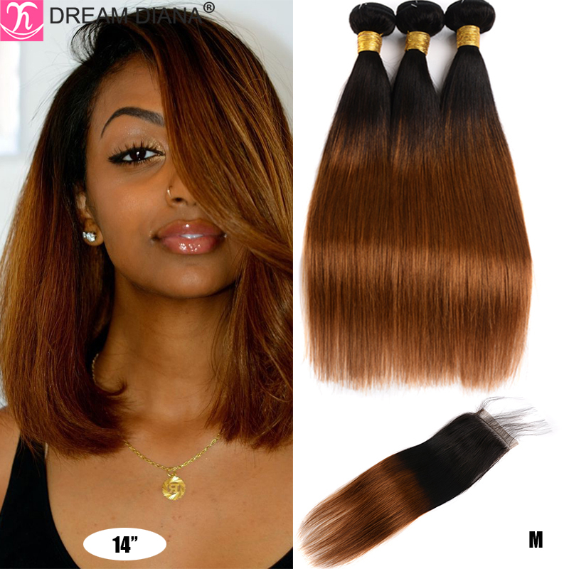 DreamDiana Ombre Straight Hair Bundles With Closure Two Tones Peruvian Hair With Closure 100% Ombre Human Hair With Closure M