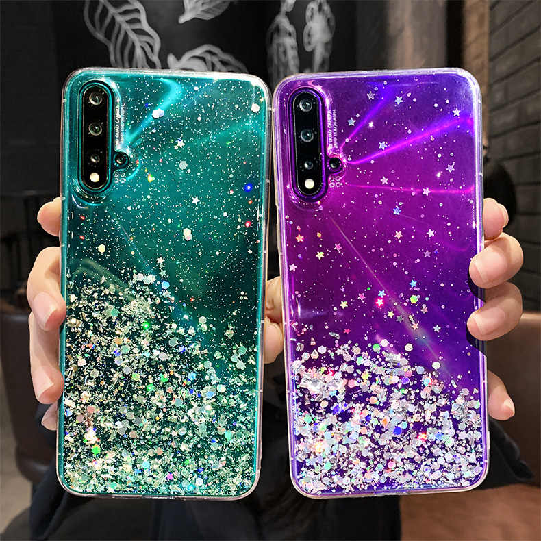 BlingสำหรับHuawei Honor 20 Pro 20S Lite 10 Lite 10i V20 Honor 9X Pro 9A 9C 9S 8X 8A 8C 8S 7A 7X 7C Glitter Star TPU Cover