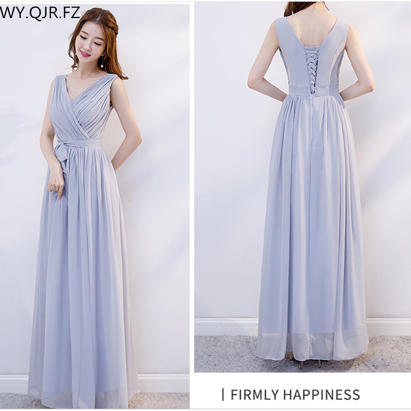 XMFS-75B#Gary Bridesmaid Dress Long Lace Up Chiffon Bra V-neck Etc 6 Style Wedding Party Prom Dresses  Girl Cheap Wholesale