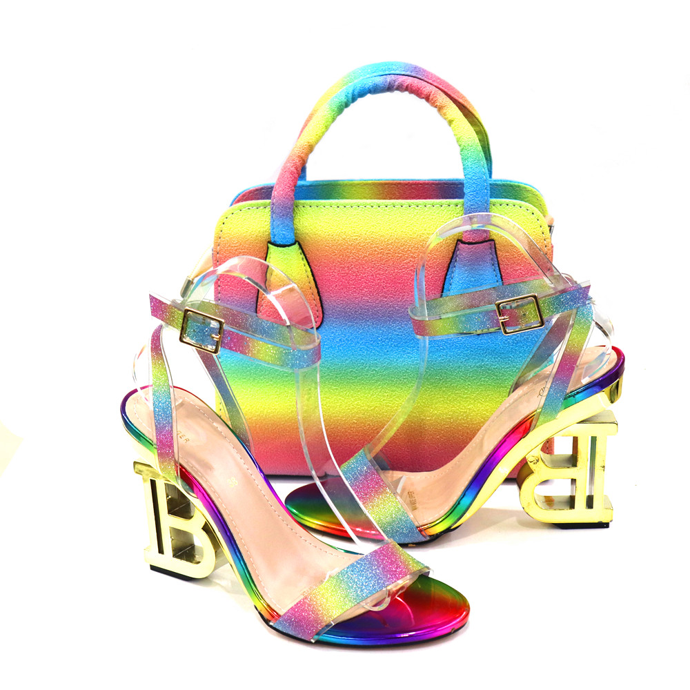 Multi Color 2021 Autumn Special Heels Italian Style African Ladies Shoes and Bag Set Nigerian Women Shoes and Bag to Match
