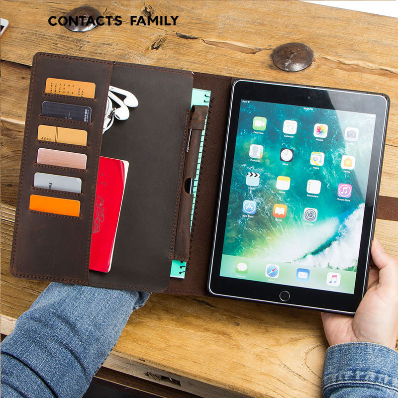2019Horse Cow Leather Case For IPad Pro10.5 Pouch Bag  Passport Holder IPAD Case Bag Passport Cover Stand IPad Flat Leather Case