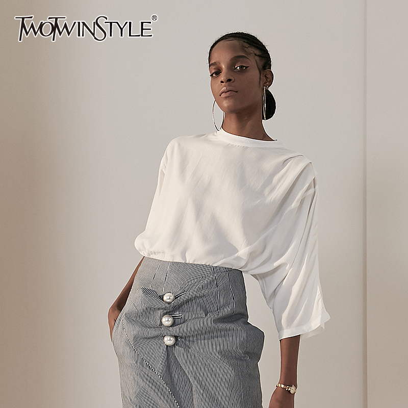 TWOTWINSTYLE Solid Shirt For Women Stand Collar Asymmetrical Sleeve Ruched Casual Blouse Female Fashion Clothing 2020 Spring New