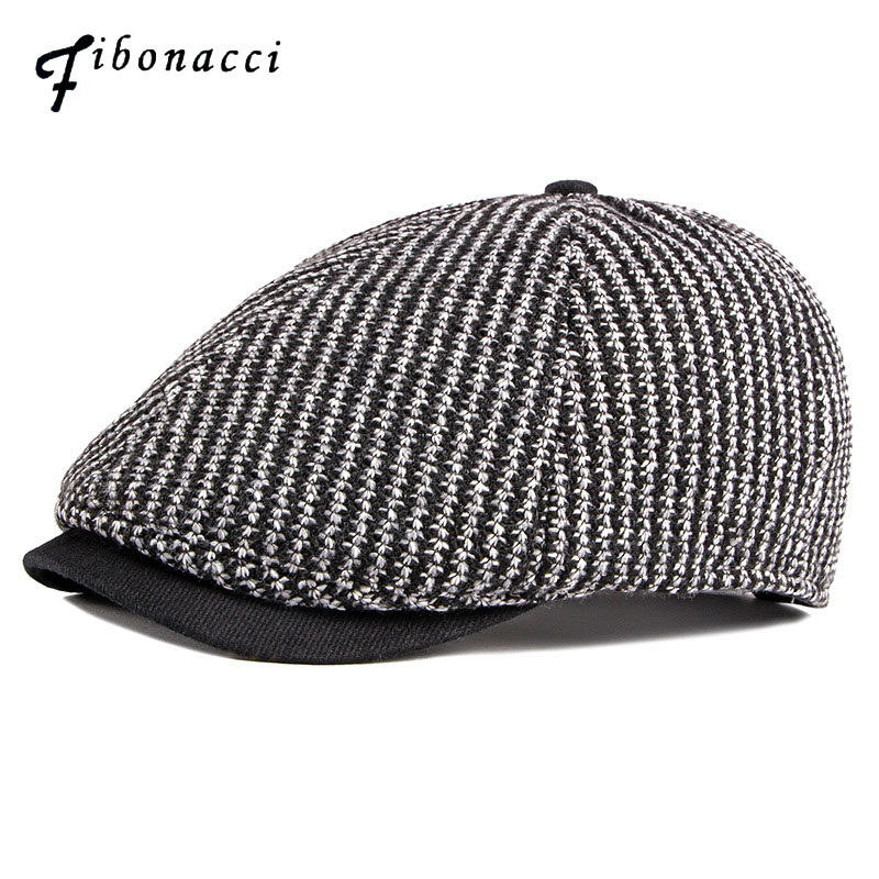 Fibonacci 2019 New Men Women Knitting Newsboy Cap 6 Panel Striped Hat Flatcap Ivy Vintage Brand Quality Autumn Winter Beret