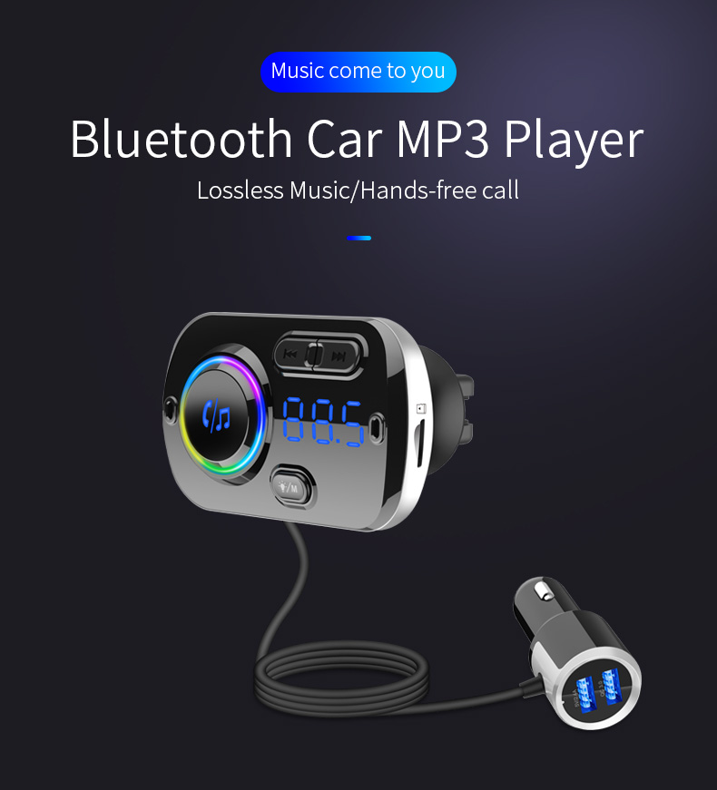 Aux Bluebooth Bt Hands Free Car Charger Bc49 Mp3 Player Fm Transmitter Support Voice Navigation Usb Charging Port Auto Fastener Clip Aliexpress