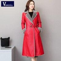 Vangull New Women Red Pu Leather Jacket Fur Lined Long Coats Slim Fashion Leather Coats Black Clothing Lady Elegant Coat Outwear