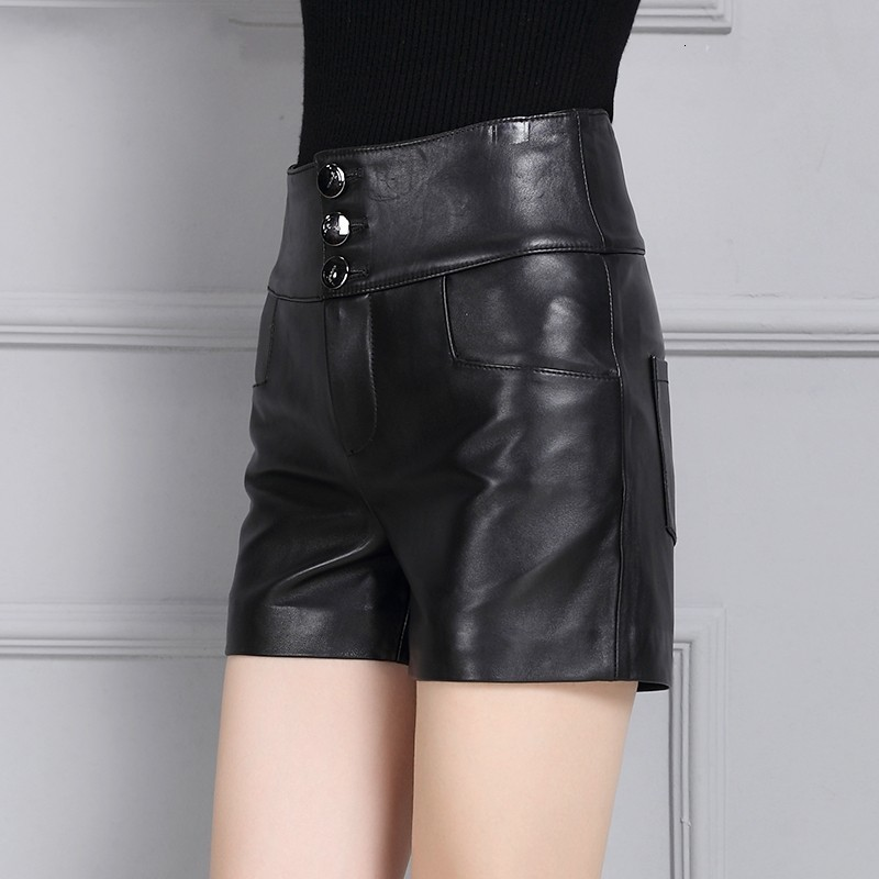 Female New Fashion Korean Style Straight Shorts Sheepskin Leather High Waist Casual Streetwear Punk High Quality Trousers Woman