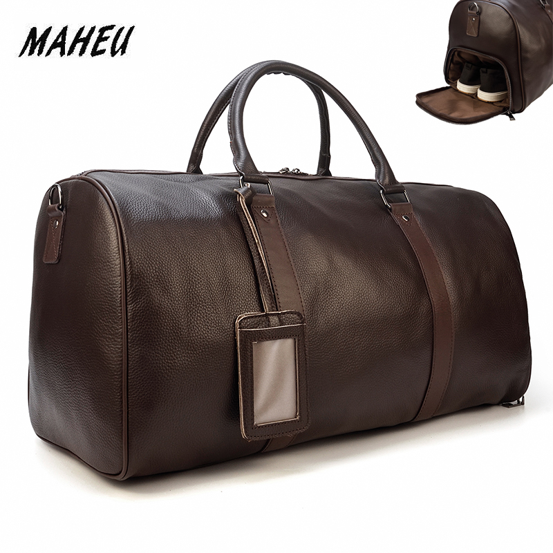 MAHEU High Fashion Bags For Women 2019 Men Male Female Travelling Duffle Bag Hand Carry Bags Soft Genuine Leather For Airplane