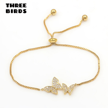 Tiny Trendy Cubic Zirconia Crystal Butterfly Bracelet Luxury Cz Stone Rose Gold Adjustable Bracelet For Women Jewelry S-L0003