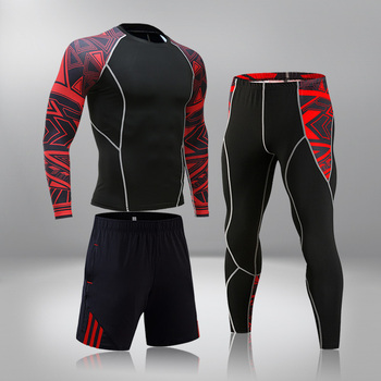 High-End Men's Brand Sports Riding 3 Set MMA Tactical Leggings Solid Color Clothing Compression Fitness Long Johns Winter Suit 4