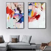 Abstract Warm Color Canvas Painting Red Blue Posters High Quality Prints Wall Art Pictures for Living Room Fashion Nordic Decor
