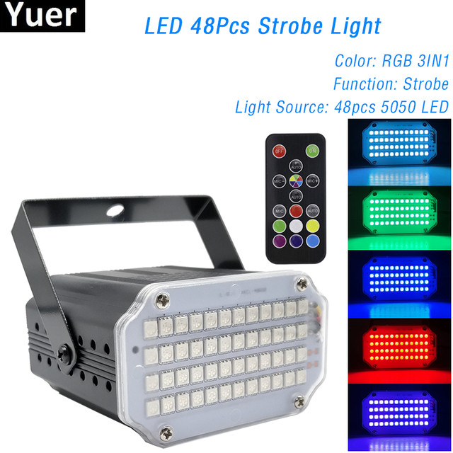 48LEDs RGB 3IN1 Led Strobe Light Remote Sound Control Wash Beam 2IN1 Stage Lights Party DJ Bar Disco Stroboscope Lamp Par Light