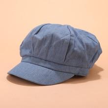 Girls Beret Hats women casual Vintage Washed Denim Octagonal cap hats Winter Autumn fashion Painter Newsboy