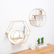 Nordic Style Iron Art Round Shape Wall Shelf Geometric Figure Floating Shelves