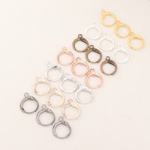 Bronze French Lever Earring Hooks Loop With Clasp Round Base For DIY Wire Base Hoops Findings Earrings Jewelry Making Supplies