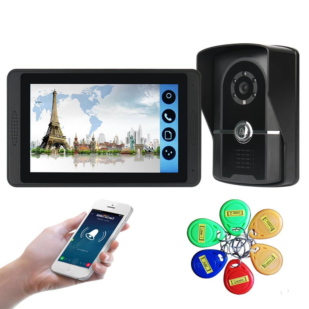 7 Inch WiFi Doorbell Video Touch Screen Phone Remote Photo Night Vision Home Intercom Apartment Wired Door Bell With ID Cards