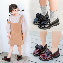 Spring New kids school shoes Girls Black children leather