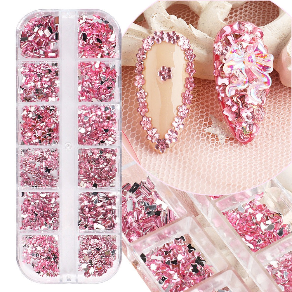 12 Grid Multi-size Glass Nail Rhinestones for Nails Art Decorations Crystals Strass Charms Partition Mixed Size Rhinestone Set