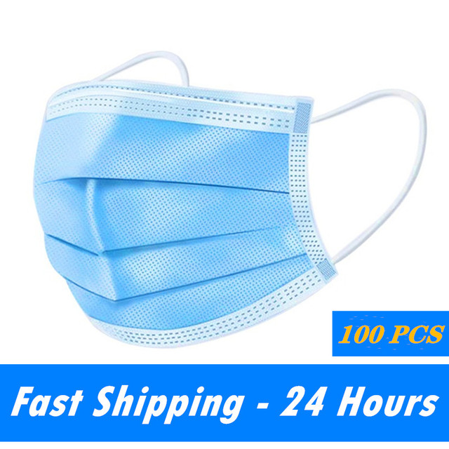 100 Pcs 3 Layer Disposable Mask Non-woven Mascarillas Dust Face Mask Thickened Disposable Mouth Mask Dust Filter Safety mascaras