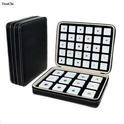 Boîte de gemme en cuir d'unité centrale insertion portative sac de fermeture éclair de voyage de pierre gemme carrée étui d'emballage de bijoux de boîte d'affichage d'affaires de pierre de diamant