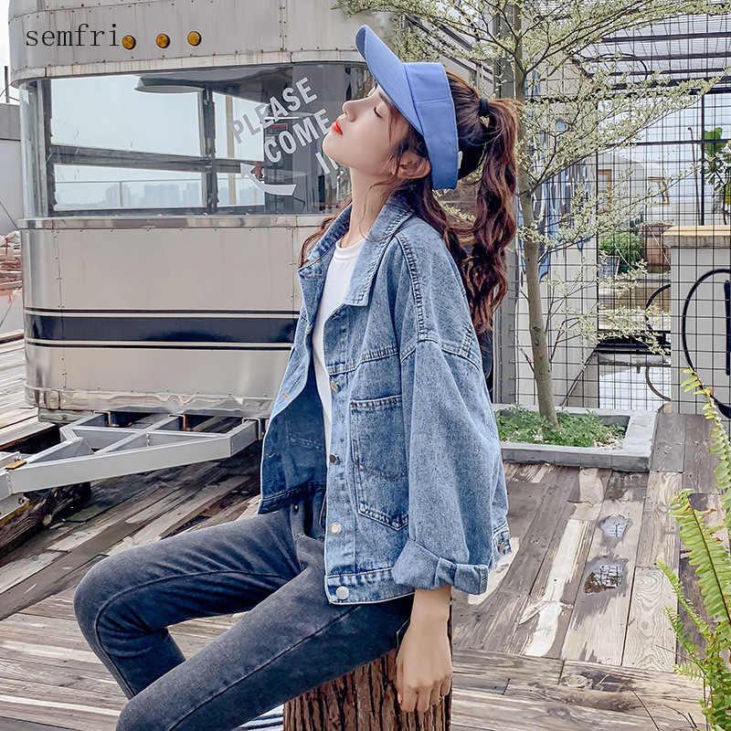 Semfri Blue Denim Jacket 2020 봄 가을 루스 스타일 청바지 코트 여성 레터 프린트 와일드 빈티지 한글판 자켓