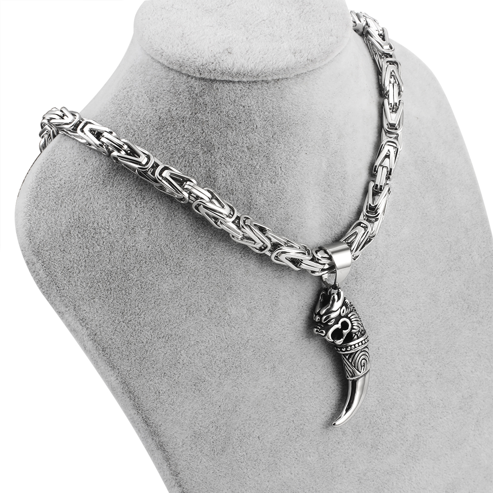 Men's Byzantine Chain Necklaces Punk Stainless Steel Jewelry Wolf Pendant Necklace For Men  Emperor chain Gifts customizable