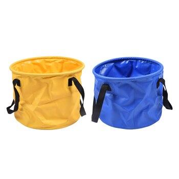 Cubo de pesca plegable de PVC de 2 piezas, cubo de agua para acampar al aire libre 30L