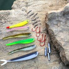 MIZUGIWA Drop Shot 21 Kit Inc Souple Shad Minnow Appât Crochet Drop Shot Poids Snap Pivote Pour Basse Perche Walley Truite(China)