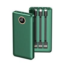 Power Bank 20000 mAh przenośny Poverbank wbudowany 3 kable mobilna bateria zewnętrzna do telefonu komórkowego ładowarka Powerbank 20000 mAh dla Xiaomi