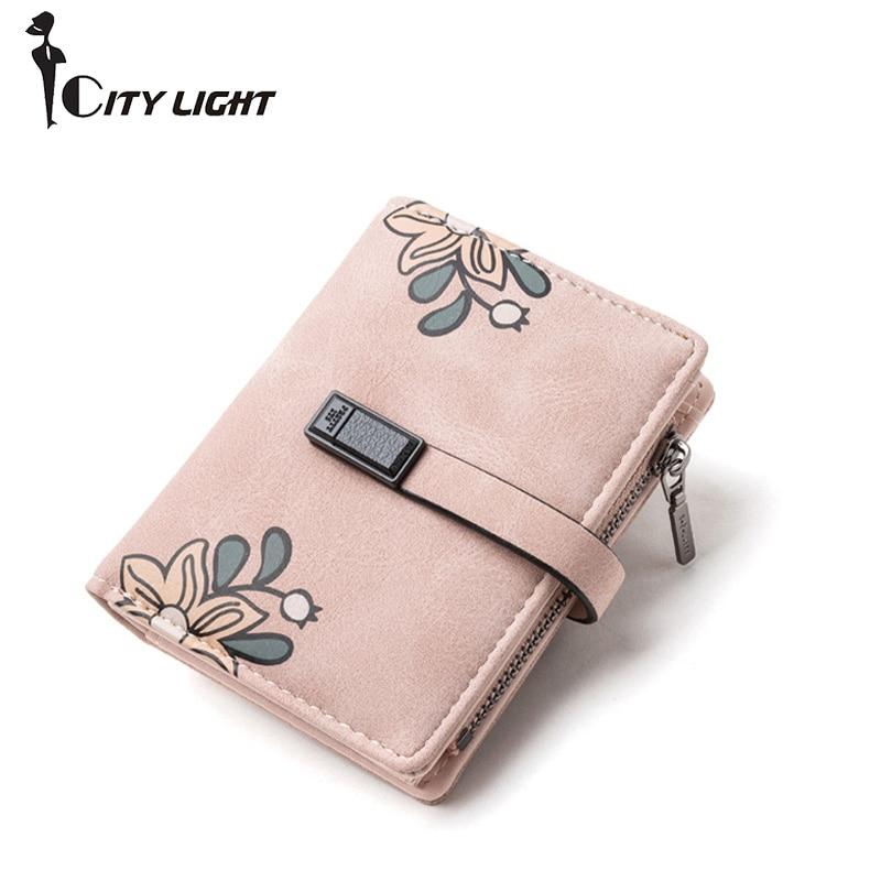 Brand New Ladies Wallet Small Three Fold Purse Flower Pattern Zipper Wallet Card Holder Short Coin Purse  Women Girls Carteira