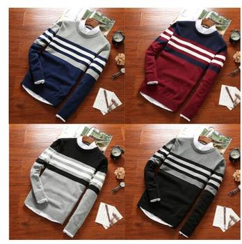 stiped cotton trendy sweater men's