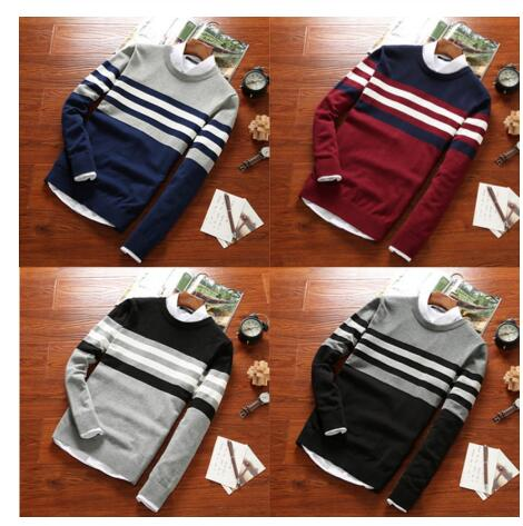 Men 2018 Fall Fashion Casual Striped Cotton Sweater Men O-Neck Warm 100% Cotton Knitted Sweaters Men's Plus Size Sweaters Coat