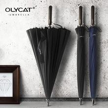 مظلة طويلة مستقيمة من OLYCAT 24K مقاومة للرياح ذات مقبض خشبي قوي مظلة مطر للنساء والرجال علامة تجارية للأعمال من الألياف الزجاجية من باراغواي
