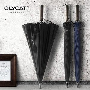 Image 1 - OLYCAT parapluie droit Long avec poignée en bois, résistant au vent, de marque de verre pour femmes et hommes, 24K