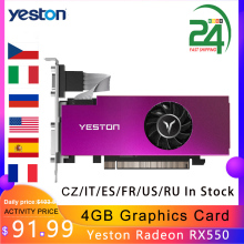 Yeston Radeon RX550 4GB carte graphique unique Slot carte vidéo GDDR5 carte graphique 6000MHz VGA HD DVI-D carte graphique de bureau