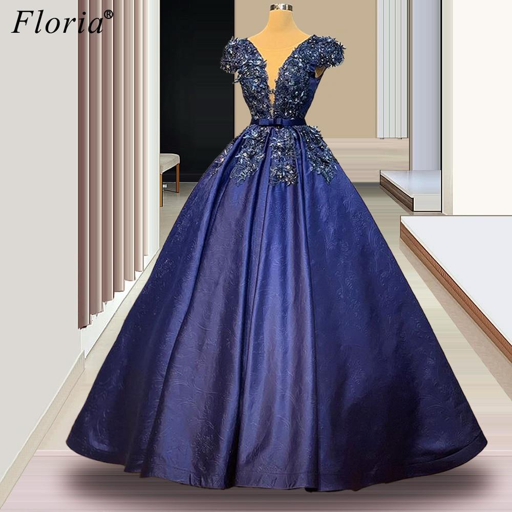Navy Blue Appliques Prom Dresses A-Line Long Crystals Evening Dresses Elegant Women Celebrity Dresses Vestidos De Fiesta Custom