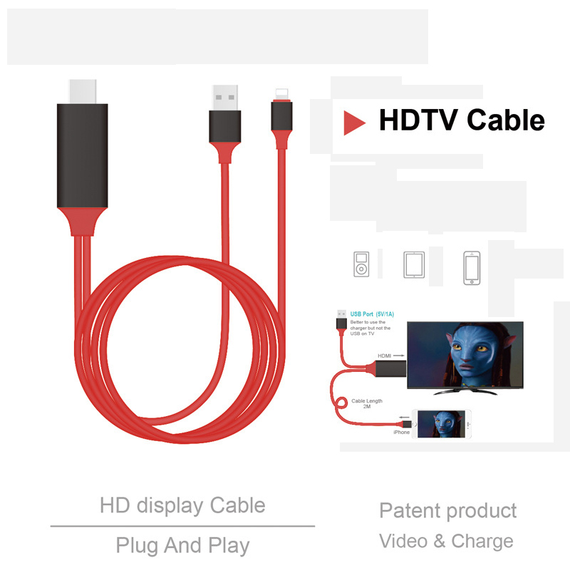 1.8M HDMI Cable For Lightning Micro USB To HDMI Adapter Converter Cable AV HD TV For IOS For IPhone IPad For MHL Android Phone