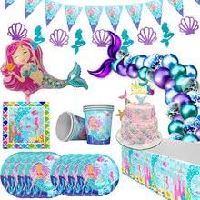 Joy-Enlife Mermaid Party Decor syrenka jednorazowe zastawy stołowe lateksowe balony nakrycia głowy banery dekoracje na przyjęcie urodzinowe dziecko urodziny