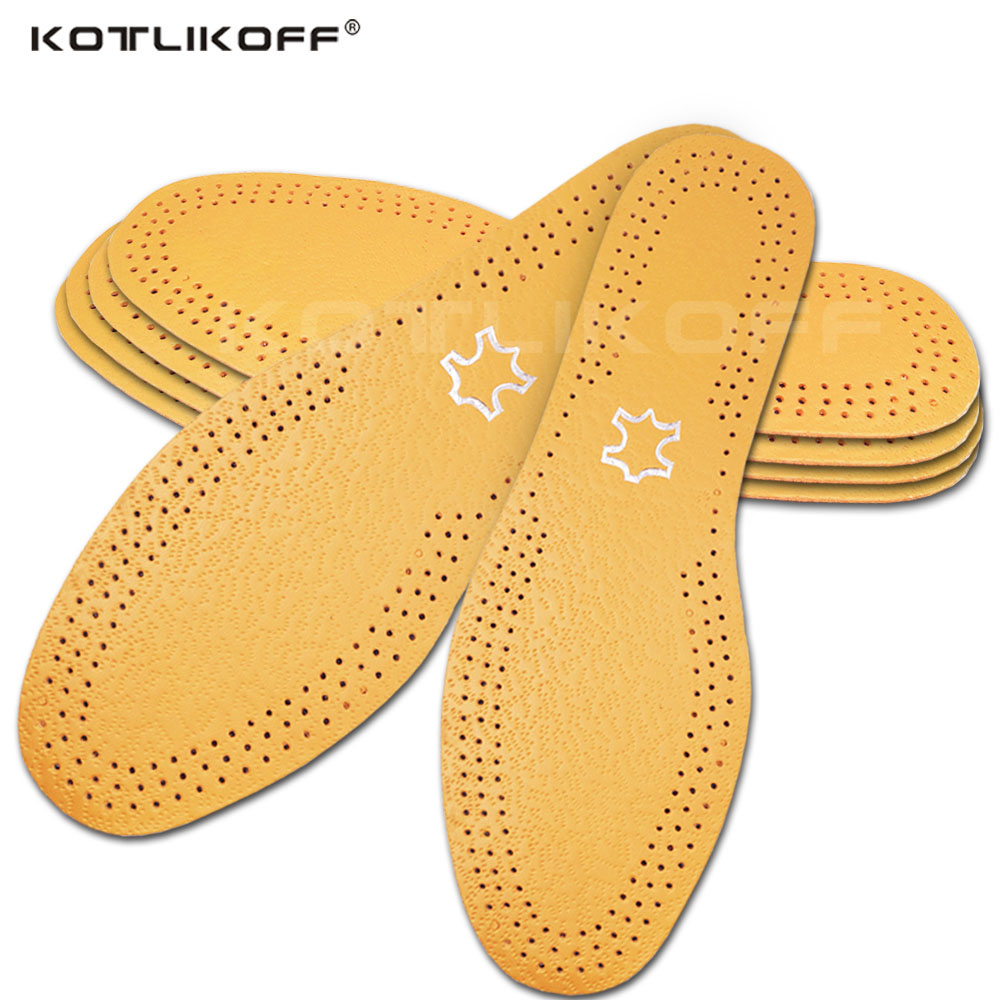 KOTLIKOFF Ultra Thin Breathable Deodorant Leather Insoles Instantly Absorb Sweat Replacement Inner Soles Shoes Insole Pads