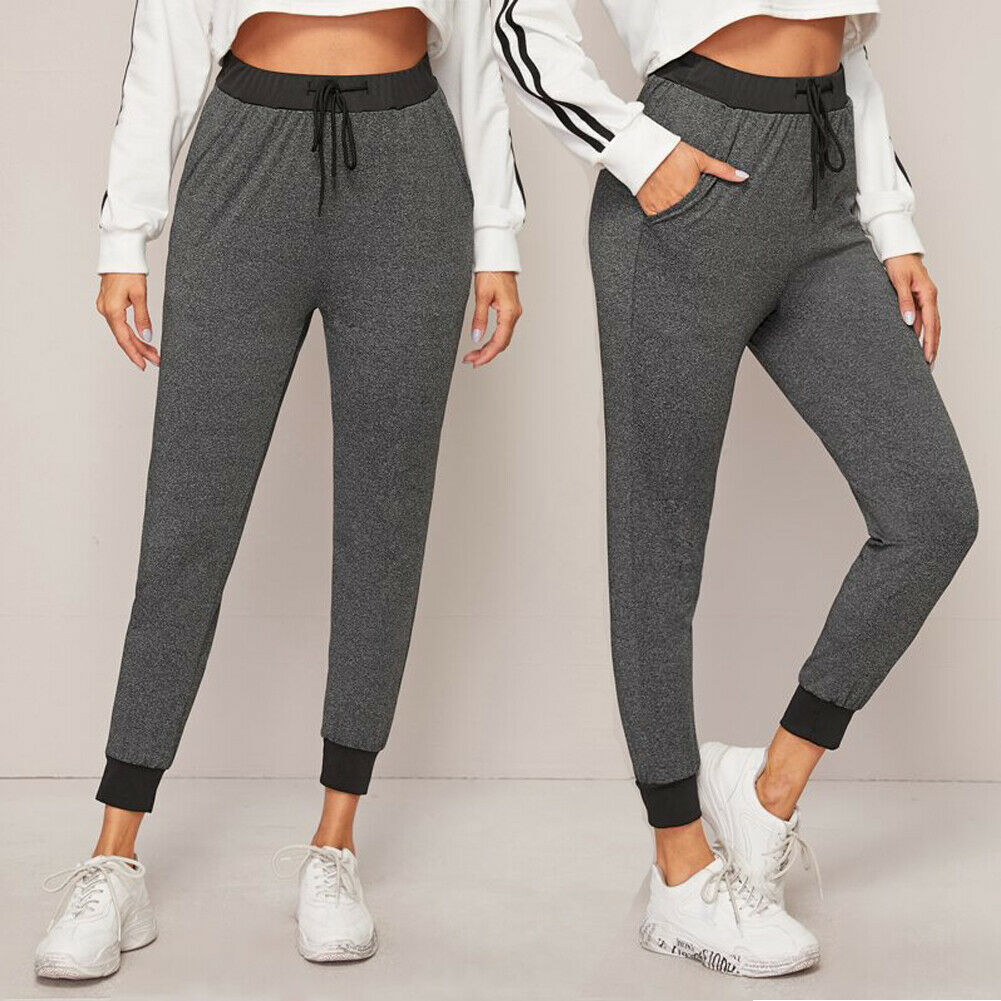 Fashion Women High Waist Ankle Length Pants Trousers Sweatpant Lady Fitness Lace Up Leggings Joggers Gym Pants