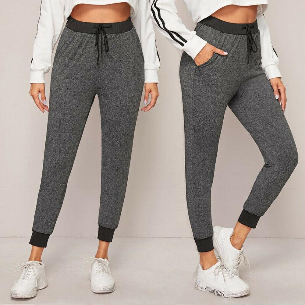 Fashion Women High Waist Ankle Length Pants Trousers Sweatpant Lady Fitness Lace Up Leggings Joggers Gym Pants