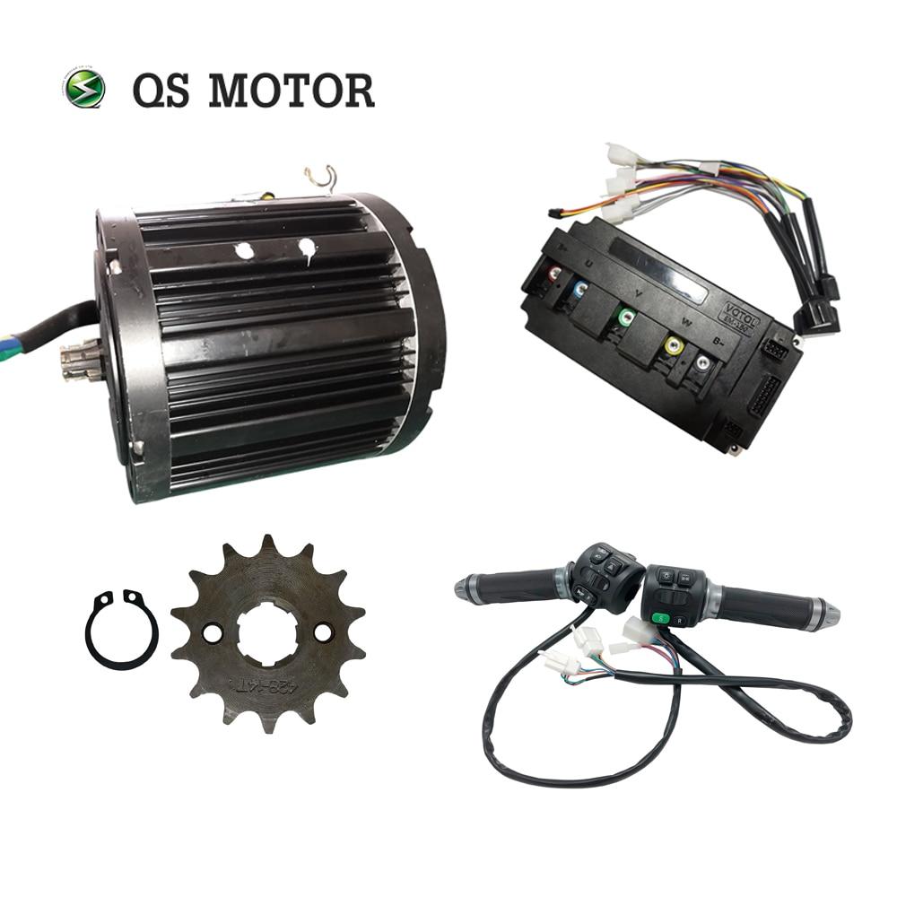 Qsmotor 138 72 v 100kph 3kw meados do motor de acionamento 3000w power train kits com tipo da roda dentada do controlador do motor