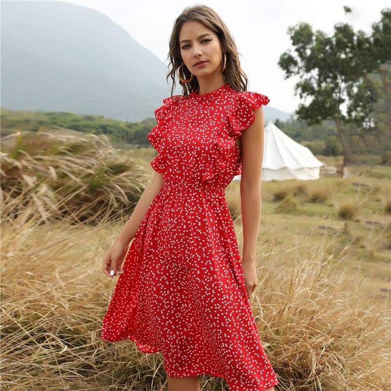 2020 New Summer Dot Print Dress Women Casual Butterfly Sleeve Ruffles Medium Long Chiffon Dress 1