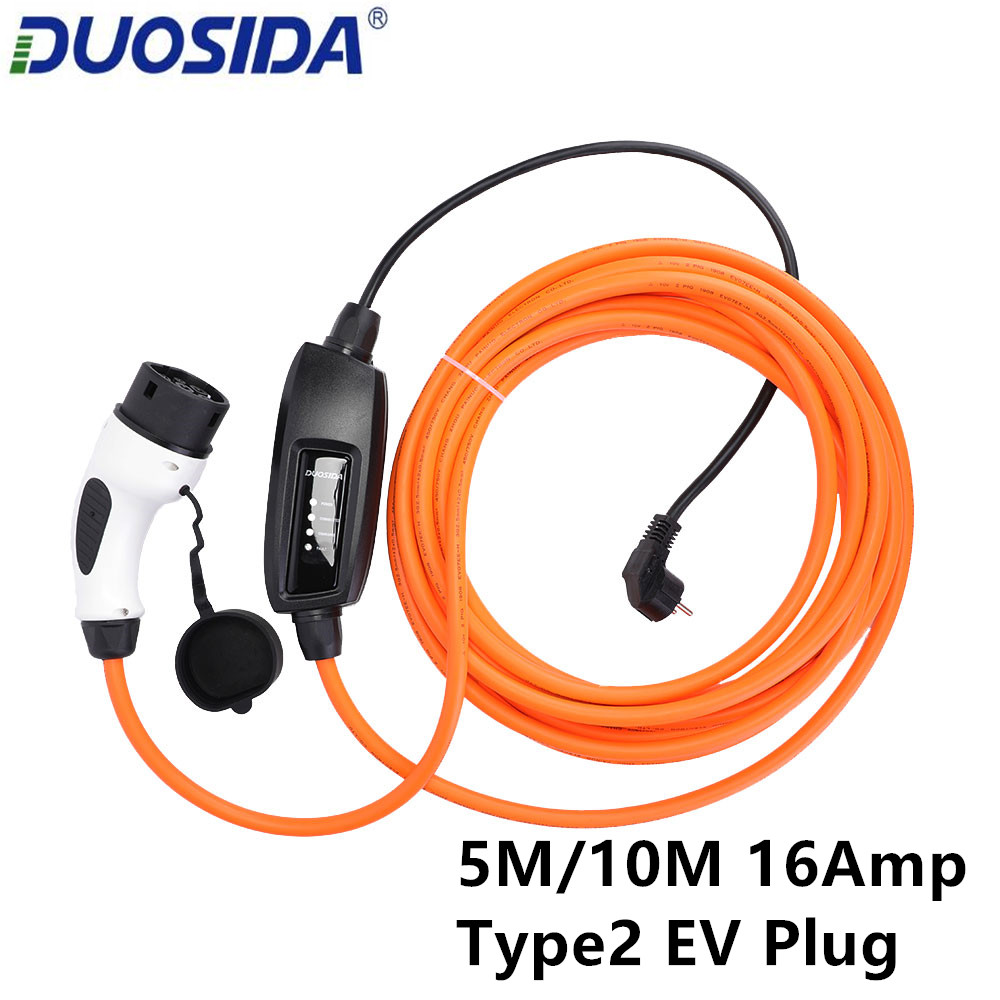 DUOSIDA EVSE 16Amp IEC 62196 EV Charger Type 2 Mennekes EV Charging Cable Electric Vehicles EV Connector Car EU Schuko PlugBattery Cables & Connectors   -