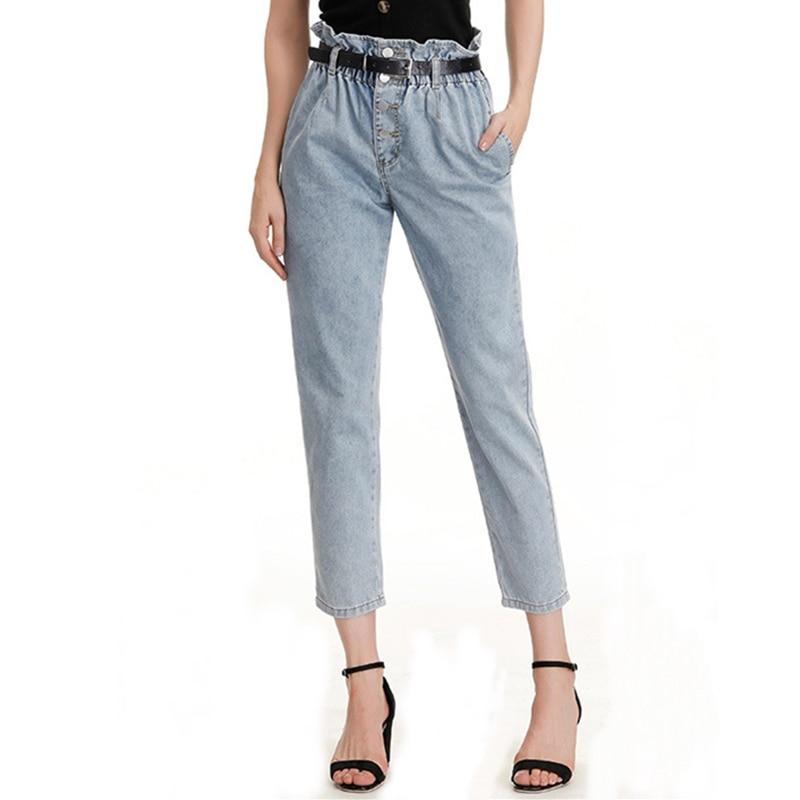 Jeans Woman Fashion Elastic  High Waist Plus Size  Loose Single-breasted  Mom   Women Denim Straight   Pants  6xl 7xl 8xl