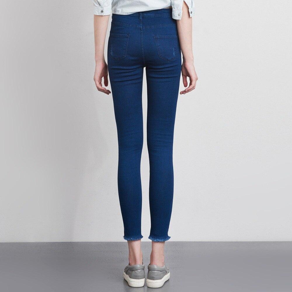 LEIJIJEANS Fashion Autumn Leggings Blue S 6XL Woman Mid Waist Plus Size women High Elastic Full Length Pants Skinny pencil Jeans 23