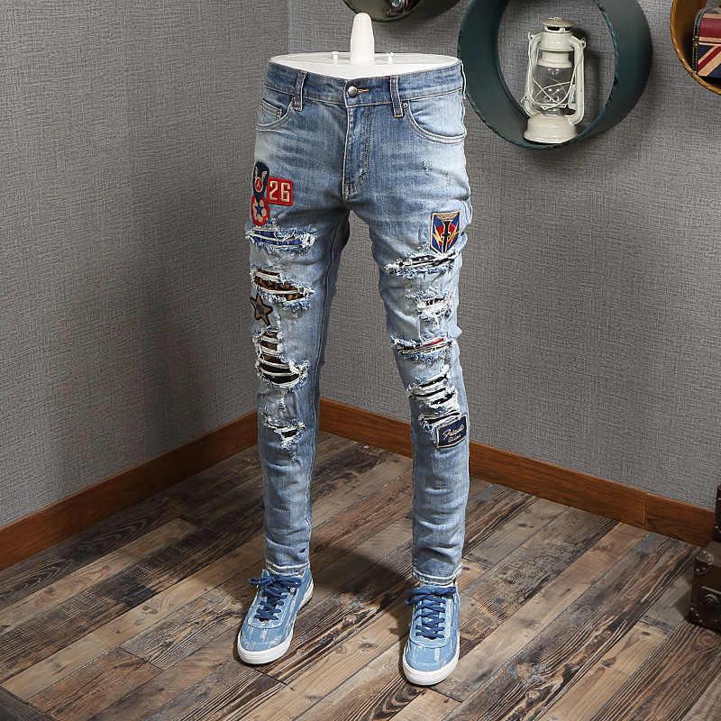 Pantalones Vaqueros Rasgados Elasticos Para Hombre Ropa De Calle Estilo Hip Hop Diseno Moderno Decoracion De Parches Punk Pantalones Vaqueros Aliexpress