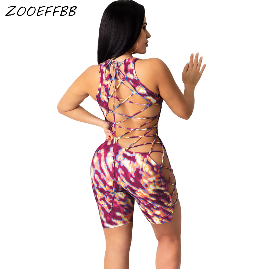 ZOOEFFBB Sexy Flame Print Bodycon Playsuit One Piece Party Club Outfits Backless Lace Up Bandage Rompers Womens Jumpsuit Shorts